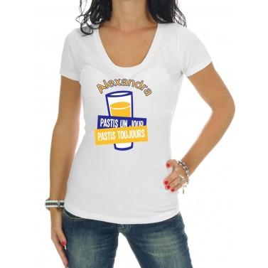 """Tee Shirt femme """"Pastis un jour, pastis toujours"""""""