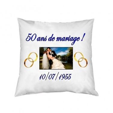 Coussin mariage carré personnalisé