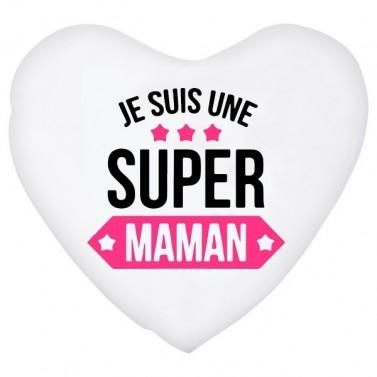 Coussin coeur je suis une Super Maman