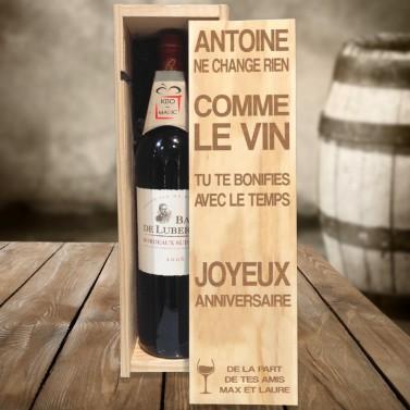 Caisse à vin prénom gravée