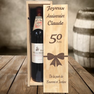 Caisse à vin anniversaire gravé