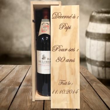 """Caisse à vin """"décerné à"""" gravée"""