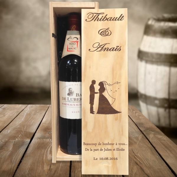 Caisse à vin mariage gravée