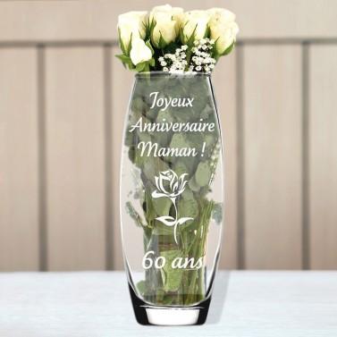 Vase en verre anniversaire gravé
