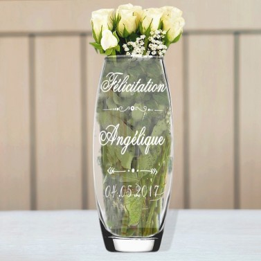 Vase en verre félicitation gravé
