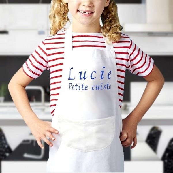 Tablier blanc enfant personnalisé