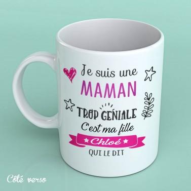 """Tasse blanche """"Maman trop génial"""""""