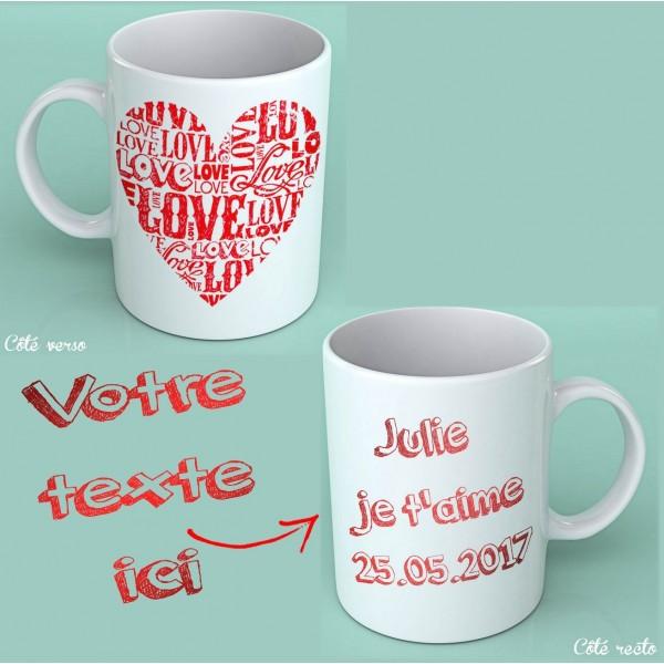 Mug Coeur Love à Personnaliser