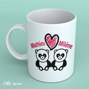 Mug Panda Amoureux