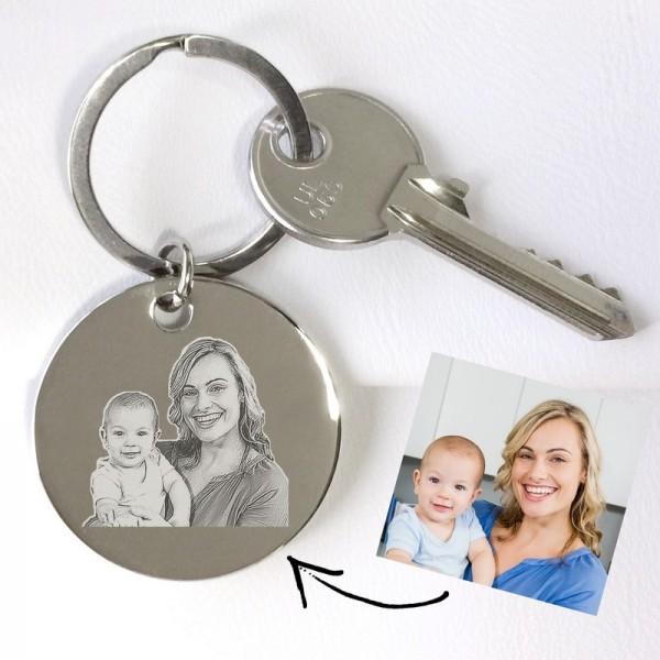 porte clés rond photo à graver