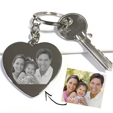 Porte clés coeur photo à graver