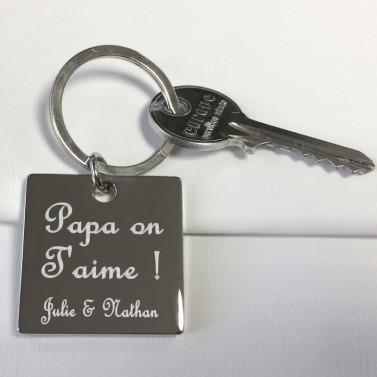 Porte-clés carré texte à graver