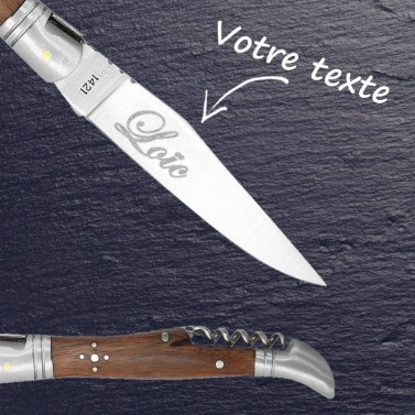Couteau laguiole + tire bouchon gravé