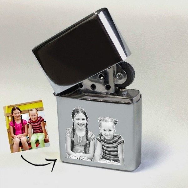 Briquet rectangle photo à graver