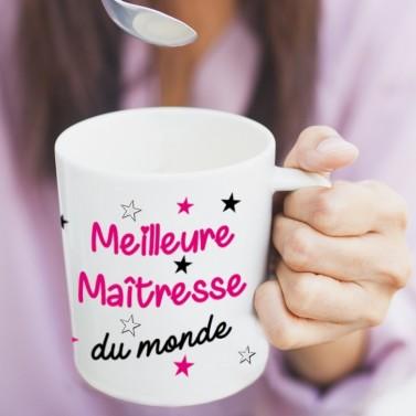 """Tasse blanche """"Meilleur maîtresse du monde"""""""