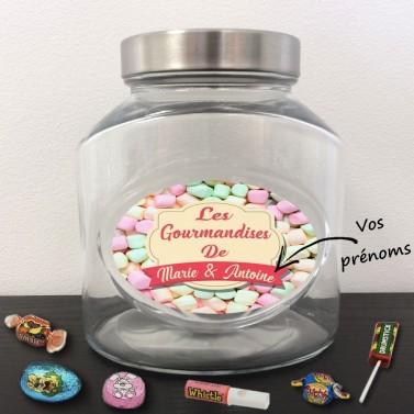 Bocal à bonbons en verre personnalisé