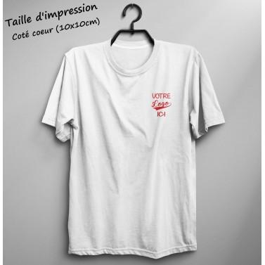 T-shirt homme blanc à personnaliser coté cœur