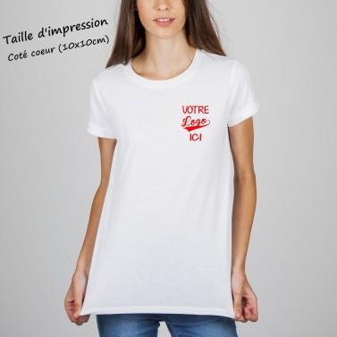 T-shirt femme blanc à personnaliser côté coeur
