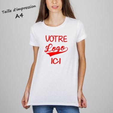 T-shirt femme blanc à personnaliser format A4