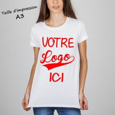 T-shirt femme blanc à personnaliser en format A3