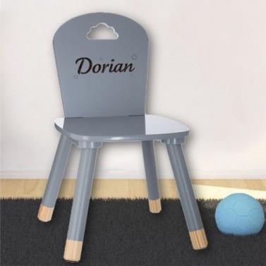 Chaise enfant grise à personnaliser