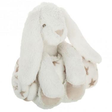 Peluche lapin blanc et son plaid personnalisé