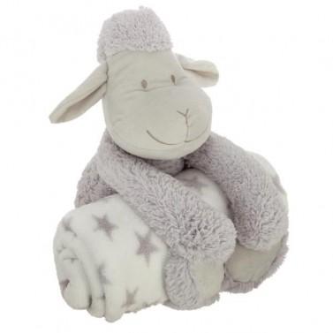 Peluche mouton gris et son plaid personnalisé
