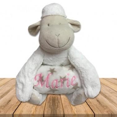 Peluche mouton blanc et son plaid personnalisé