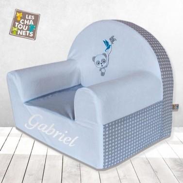 Fauteuil enfant personnalisé Panda Bleu