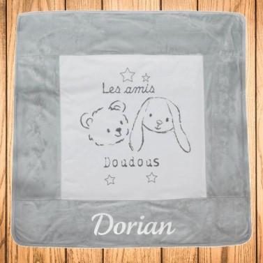 Couverture bébé personnalisée avec prénom - Ours et Lapin