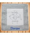 Couverture bébé personnalisée avec prénom Ours et Lapin