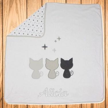 Couverture bébé personnalisée avec prénom - Petits Chats