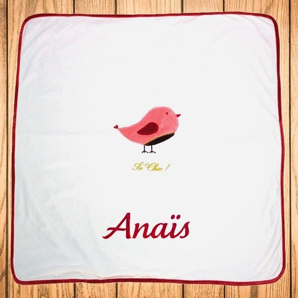 Couverture bébé personnalisée avec prénom - Petit Oiseau