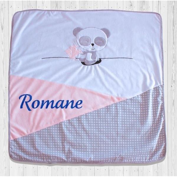 Couverture bébé personnalisée avec prénom - Panda Rose