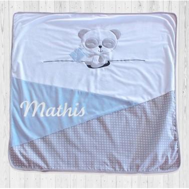 Couverture bébé personnalisée avec prénom - Panda Bleu
