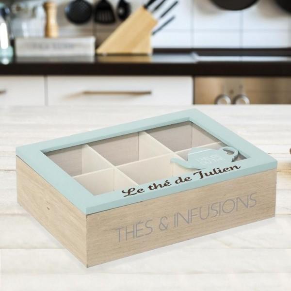 Boîte à Thé bleu gravé