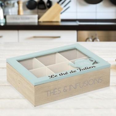 Boîte à Thé bleu gravée