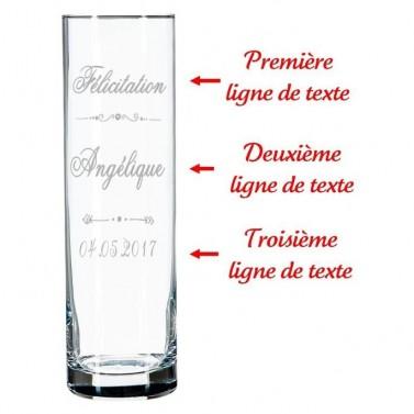 Vase droit en verre design gravé
