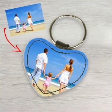 Porte clés cuir coeur personnalisé