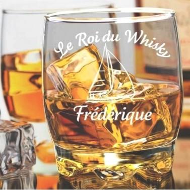 Verre à whisky Bateau gravé