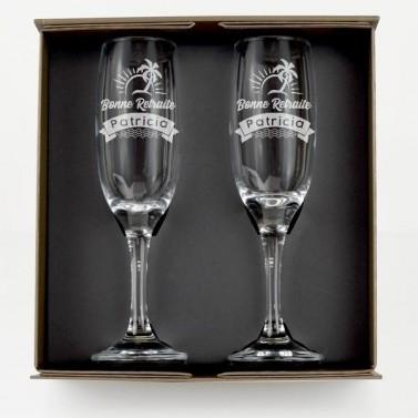 """Flûte à Champagne personnalisée """"Retraite"""""""