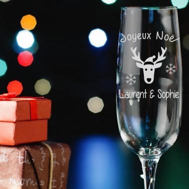 """Coupe à Champagne """"Noël"""" personnalisable"""