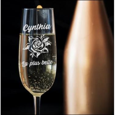 """Verre à Champagne personnalisable """"Rose"""""""