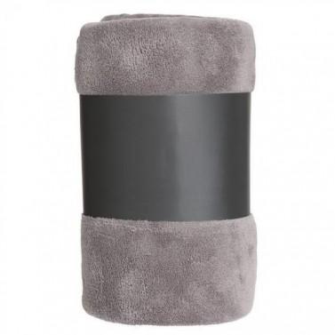 Plaid microfibre gris personnalisé