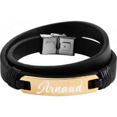 Bracelet cuir double doré personnalisé