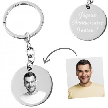 Porte clés rond photo à personnaliser