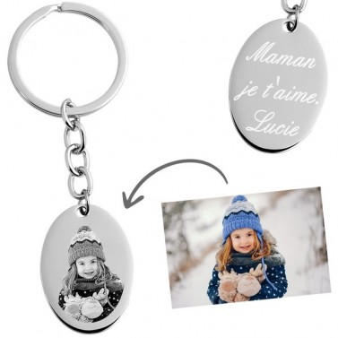 Porte clés ovale photo à graver