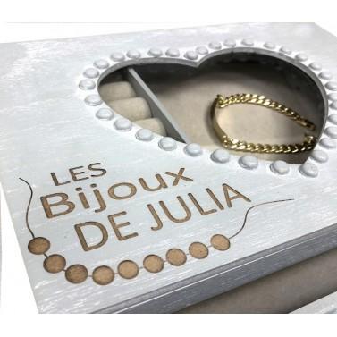 Grande Boite à bijoux en bois personnalisée