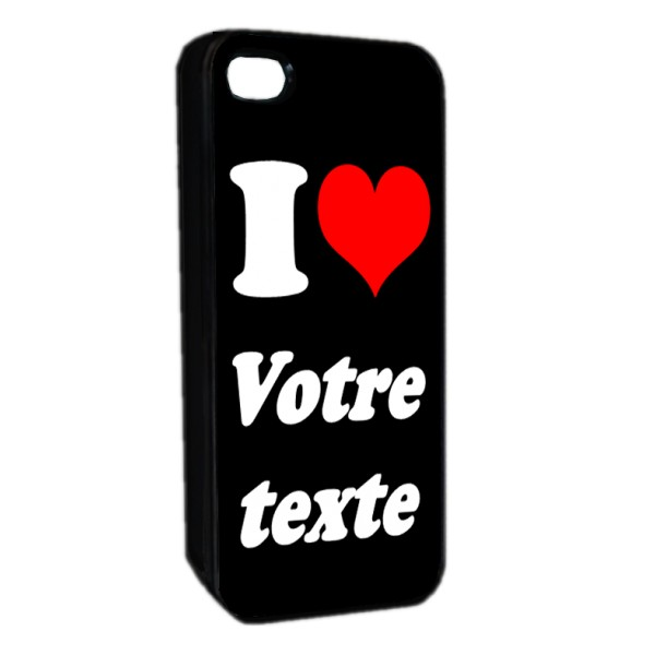 "Coque Iphone 4 ou 5 ""I love"" noir"
